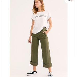 Free people On My Mind Wide Leg Pants Green